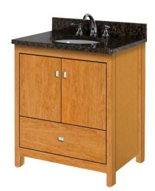 "ALKIESSENCE30SLAB - Strasser Woodenworks 30"" Alki Essence Vanity, 4 Door Styles, 15 Finishes"