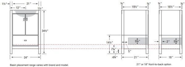 "ALKIESSENCES 600x219 - Strasser Woodenworks 24"" Alki Essence Vanity, 4 Door Styles, 15 Finishes"