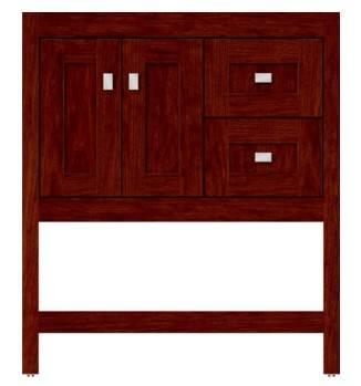 "ALKISPA30r - Strasser Woodenworks 30"" Alki Spa Vanity, 4 Door Styles, 15 Finishes"