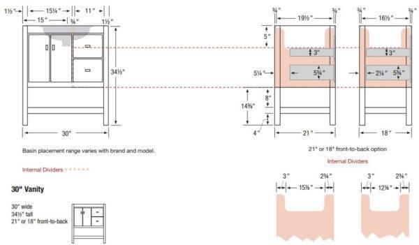 "ALKISPA30rs 600x351 - Strasser Woodenworks 30"" Alki Spa Vanity, 4 Door Styles, 15 Finishes"