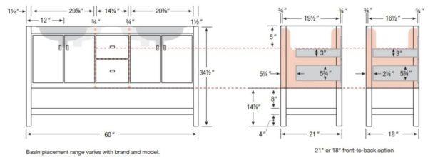 "ALKISPA60DS 600x221 - Strasser Woodenworks 60"" Alki Spa Double Sink Vanity, 4 Door Styles, 15 Finishes"