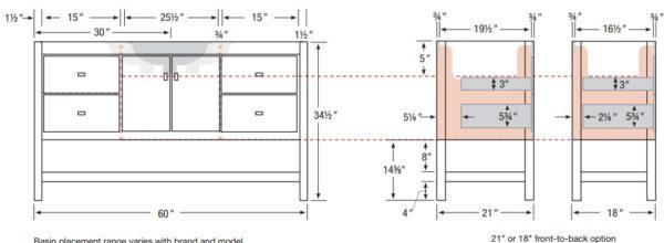 "ALKISPA60S 600x220 - Strasser Woodenworks 60"" Alki Spa Vanity, 4 Door Styles, 15 Finishes"