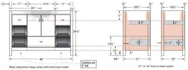 "ALKIcafe48s 600x224 - Strasser Woodenworks 48"" Alki Cafe Vanity, 4 Door Styles, 15 Finishes"