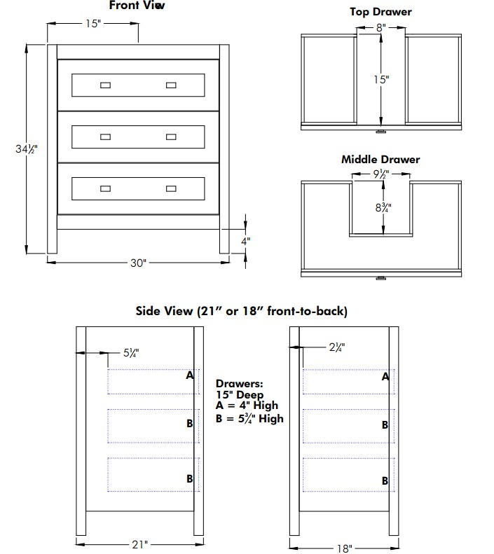 "BELLETOWN30S - Strasser Woodenworks 30"" Belltown Vanity, 4 Door Styles, 15 Finishes"