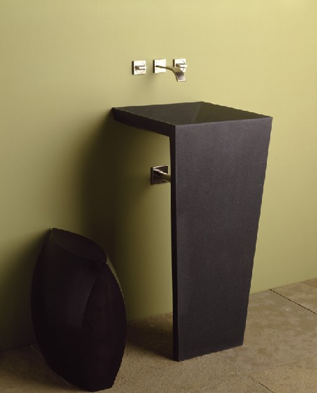 Genial ... Pedestal Sink  Honed Black Granite. C61