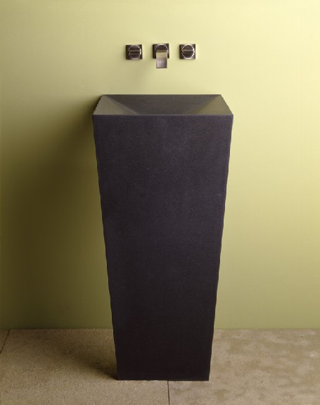 "C61d - 18"" Stone Forest Zero Pedestal Sink- Honed Black Granite"