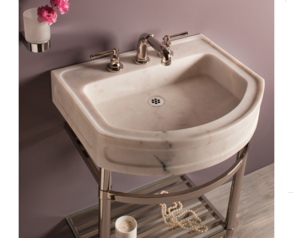"C9424B 600x488 - 24"" Stone Forest Harbor Washbasin w/Stand-Available in 2 colors"