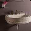 """C9424LBOWH 100x100 - 24"""" Stone Forest Harbor Wall Hung Washbasin -Available in 2 colors"""
