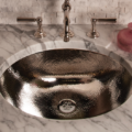 """CP07SS 120x120 - 27"""" Stone Forest Vintage Sink Console- Carrara Marble"""