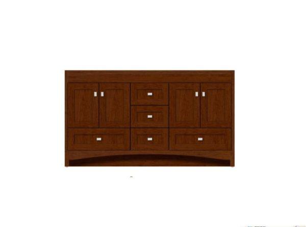 "RAVENNA60DOUBLE 1 600x445 - Strasser Woodenworks 60"" Ravenna Double Sink Vanity, 7 Door Styles, 15 Finishes"