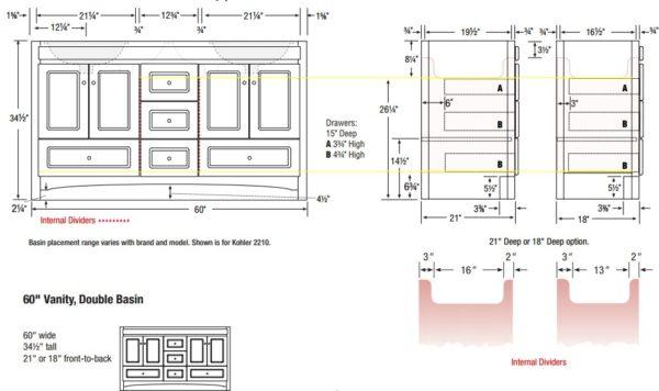 """RAVENNA60Ds 600x356 - Strasser Woodenworks 60"""" Ravenna Double Sink Vanity, 7 Door Styles, 15 Finishes"""
