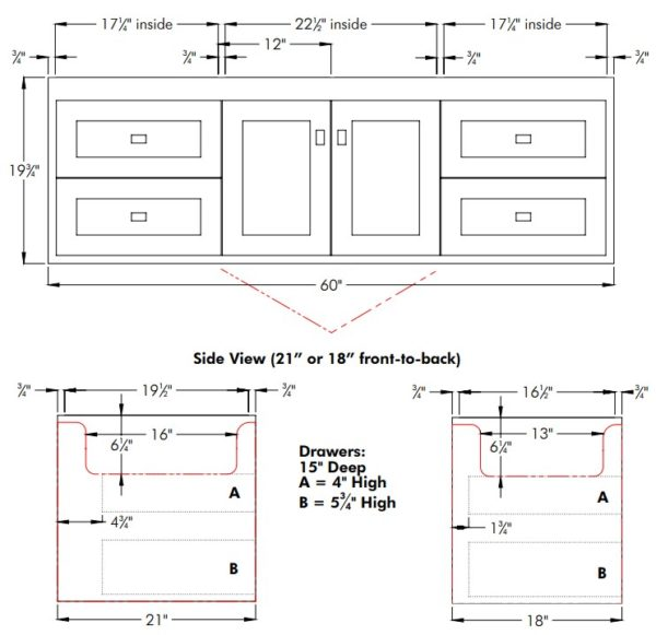 "SODO60Ss 600x581 - Strasser Woodenworks 60"" SoDo  Wall Mount Vanity, 4 Door Styles, 15 Finishes"