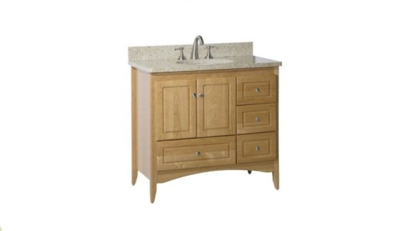 "WALLINGFORD36L 600x338 - Strasser Woodenworks 36"" Wallingford Vanity, 7 Door Styles, 15 Finishes"