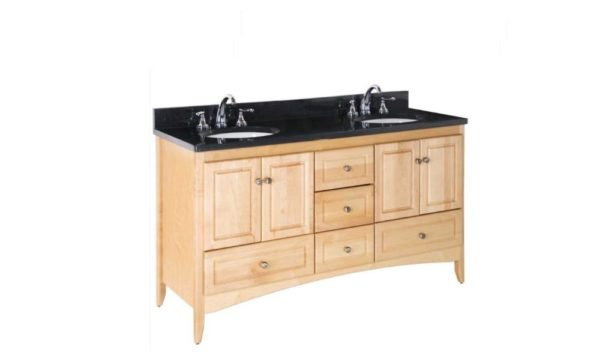 "WALLINGFORD60DOUBLE 1 600x352 - Strasser Woodenworks 60"" Ravenna Double Sink Vanity, 7 Door Styles, 15 Finishes"