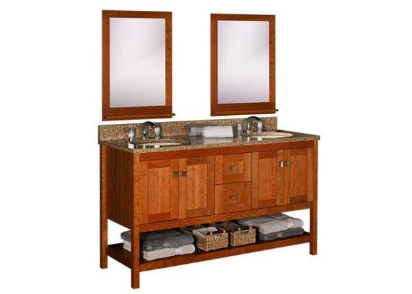 "alkispa60d 600x429 - Strasser Woodenworks 60"" Alki Spa Double Sink Vanity, 4 Door Styles, 15 Finishes"