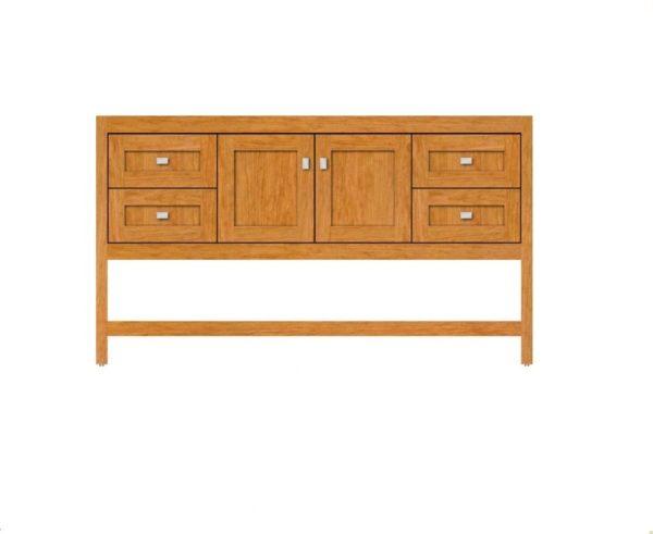 "alkispa60single 600x491 - Strasser Woodenworks 60"" Alki Spa Vanity, 4 Door Styles, 15 Finishes"