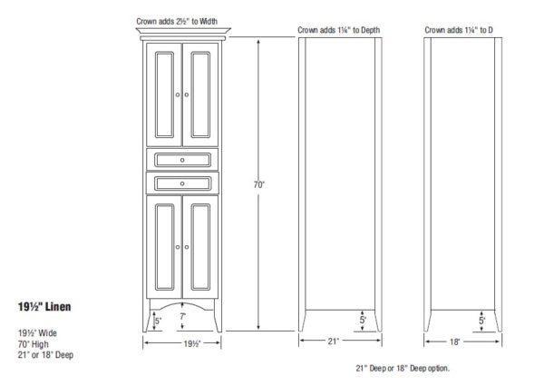 """furlinen s 600x425 - Strasser Woodenworks Wallingford 19.5"""" Linen Tower, 7 Door Styles, 15 Finishes"""