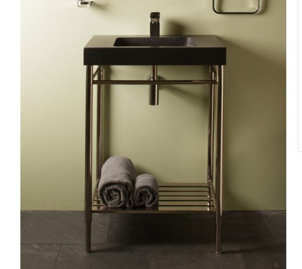 """ibgpb95 600x534 - 24"""" Stone Forest Slab Vanity w/Polsihed Nickel Base- Available in 2 colors"""