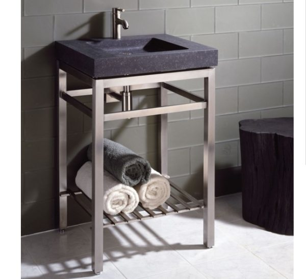 "ivg24hb 600x548 - 24"" Stone Forest Slab Vanity w/Stainless Steel Base- Available in 2 colors"