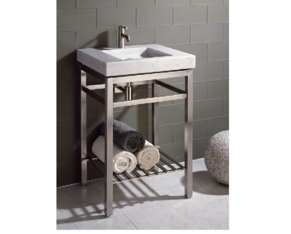 "ivg24wc 1 600x483 - 31.5"" Stone Forest Slab Vanity w/Stainless Steel Base- Stone Available in 2 colors"