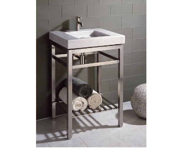 24 Quot Stone Forest Slab Vanity W Stainless Steel Base