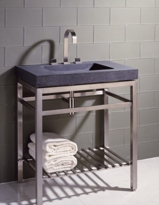 "ivg31 - 31.5"" Stone Forest Slab Vanity w/Stainless Steel Base- Stone Available in 2 colors"