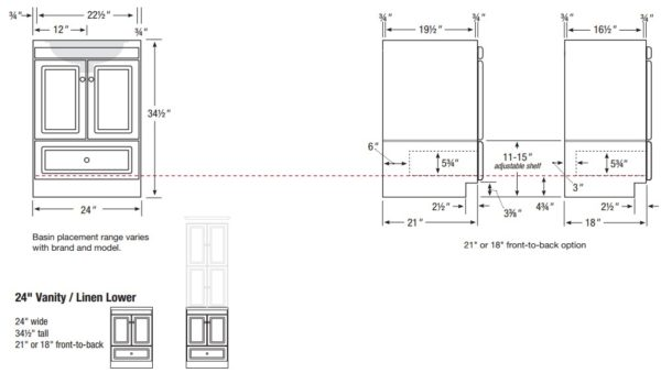 "ml24l34 600x339 - Strasser Woodenworks Montlake 24"" Linen Tower, 7 Door Styles, 15 Finishes"