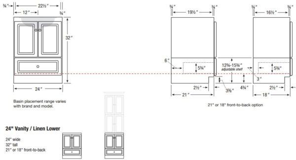 "ml32l 600x324 - Strasser Woodenworks Montlake 24"" Linen Tower, 7 Door Styles, 15 Finishes"