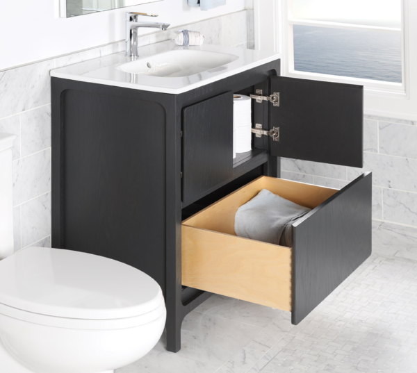 "8074COPEN 600x537 - 31.5"" Lacava Aquatre Vanity Base & Sink-Avail in Multiple finishes"
