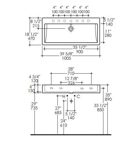 "AGS5460S - 40"" Lacava Aquagrande Console & Sink 5460"