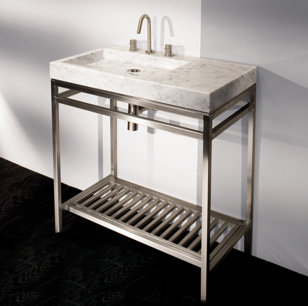 """ST004 600x595 - 32"""" Lacava Stainless Console &  Stone Sink"""