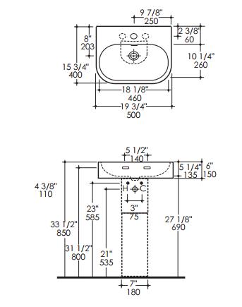 "2962s - 19.75""  Lacava Tre Wall Mount Sink-Optional Shroud & Pedestal"