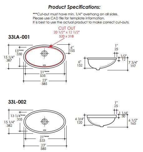 """33las - 21""""  Lacava Euro Undermount Sink"""