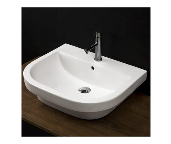 "4281 600x504 - 23 5/8""  Lacava Piazza Wall Mount Sink-Opt Shroud & Pedestal"