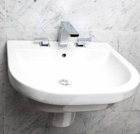 "4281a - 23 5/8""  Lacava Piazza Wall Mount Sink-Opt Shroud & Pedestal"