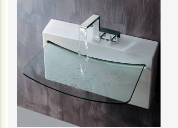 27 5 Quot Lacava Block Wall Mount Sink W Glass Lav Bathroom