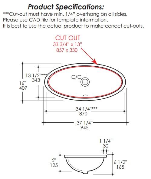 """4601S - 34""""  Lacava Euro Undermount Sink 4601"""
