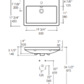 """4652s 120x120 - 23 5/8""""  Lacava Sottile Wall Mount Sink"""