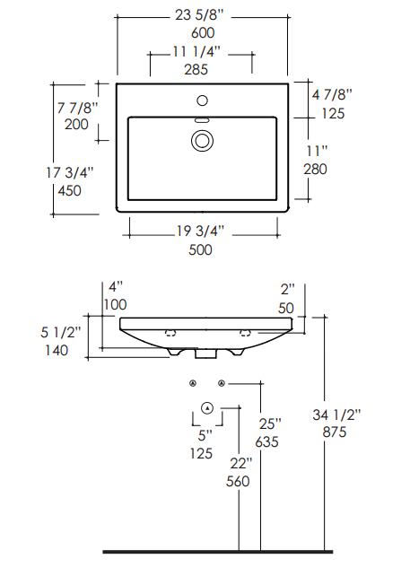 """4652s - 23 5/8""""  Lacava Sottile Wall Mount Sink"""