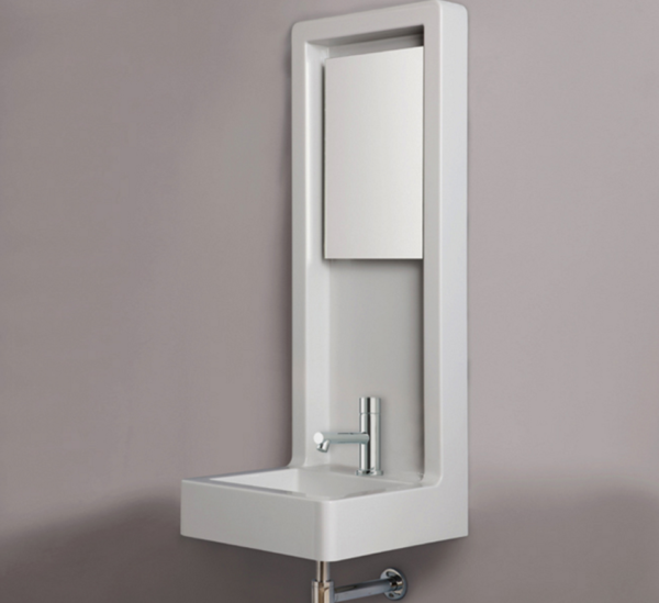 "4670 600x549 - 17.75""  Lacava Waterwall Wall Mount Sink w/Light & Mirror"