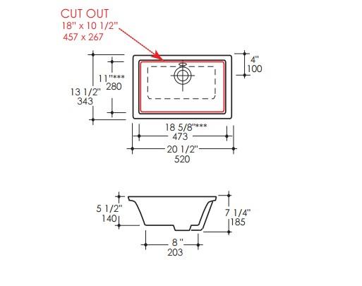 "5062UNS - 18.5""  Lacava Aquamedia Undermount Sink"