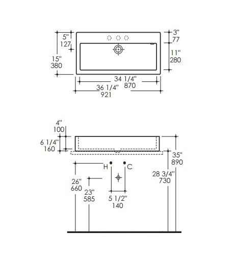 "5103s - 36.25""  Lacava Luce Vessel Sink 5103"