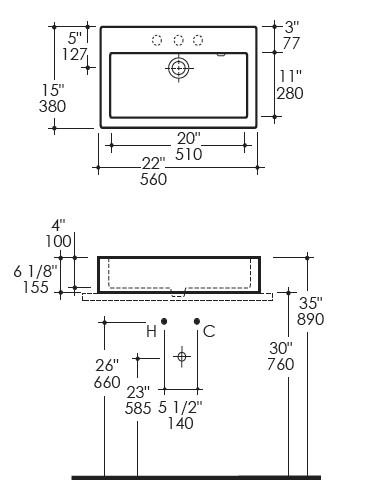 "5106s - 22""  Lacava Luce Vessel Sink"