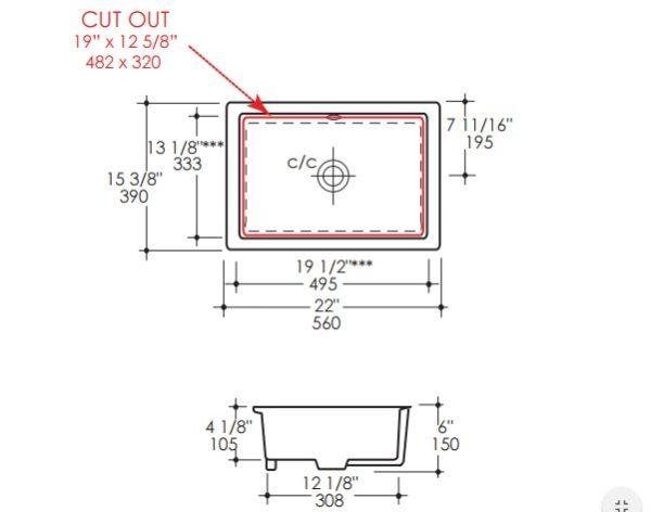 "5451s 600x472 - 19.5""  Lacava Cube Undermount Sink"