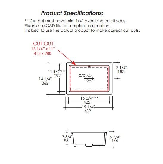 "5452UNS - 17""  Lacava Cube Undermount Sink"
