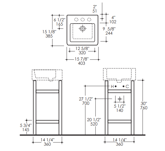 """7773APS - 15 7/8"""" Lacava Quadro Console & Sink"""