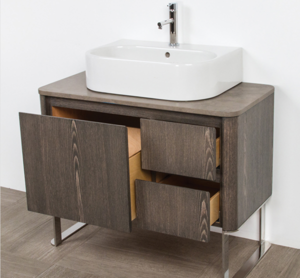 "8058A 600x556 - 36"" Lacava Catino  Wall Mount Vanity Base Optional Tops, sink & legs-Avail in Multiple finishes"