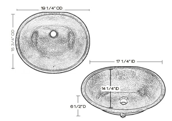 "BOU1915BRNS 600x423 - 19"" x 17.25"" Thompson Traders Hammered Nickel Farley Sink"