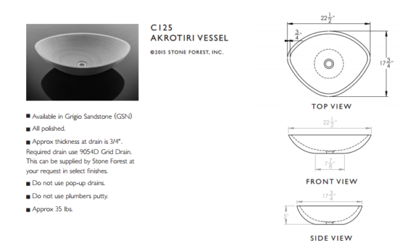 "C125S 600x365 - 22.5"" Stone Forest Akrotiri Vessel Sink"