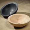 """C25HB 100x100 - 18""""  Stone Forest Round Stone Vessel Sink- Avail in 5 colors"""